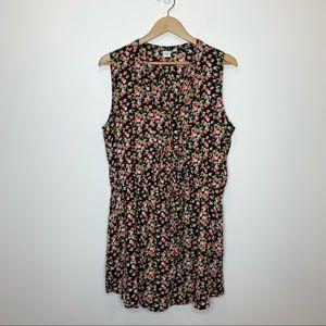 Gap Sleeveless Black Floral Shirtdress tie waist